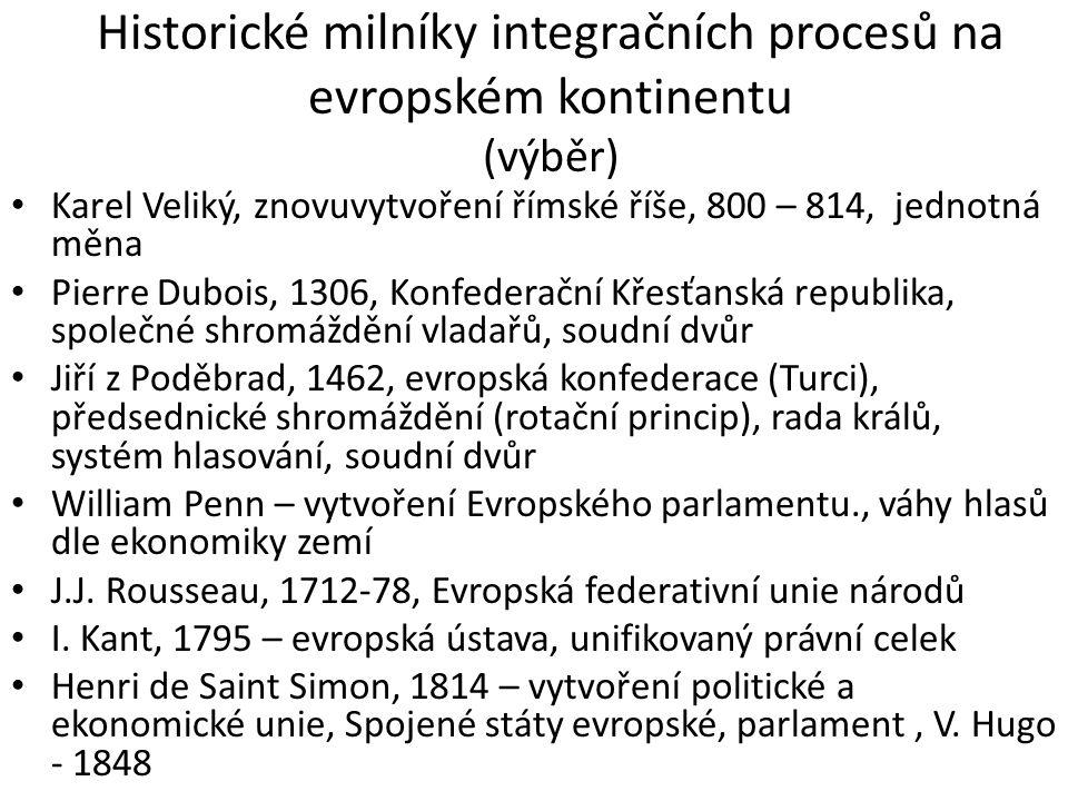 Historické milníky integračních procesů na evropském kontinentu (výběr) Lord Salisbury – 1897, Evropská federace (války, nacionalismus) I.