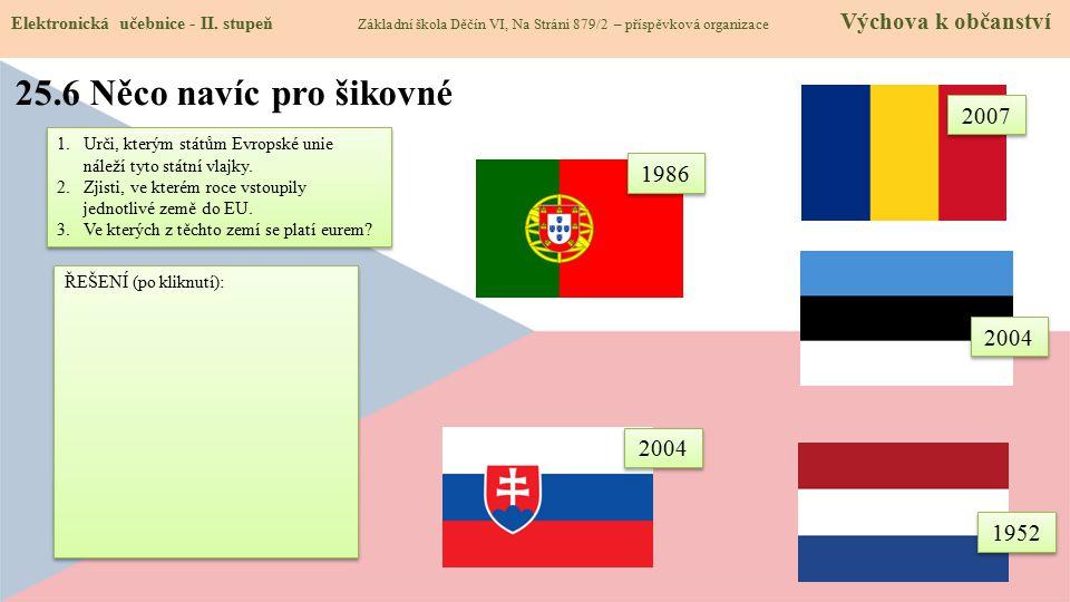Členem eurozóny jsou všechny tyto státy kromě Rumunska. 25.6 Něco navíc pro šikovné Elektronická učebnice - II. stupeň Základní škola Děčín VI, Na Str