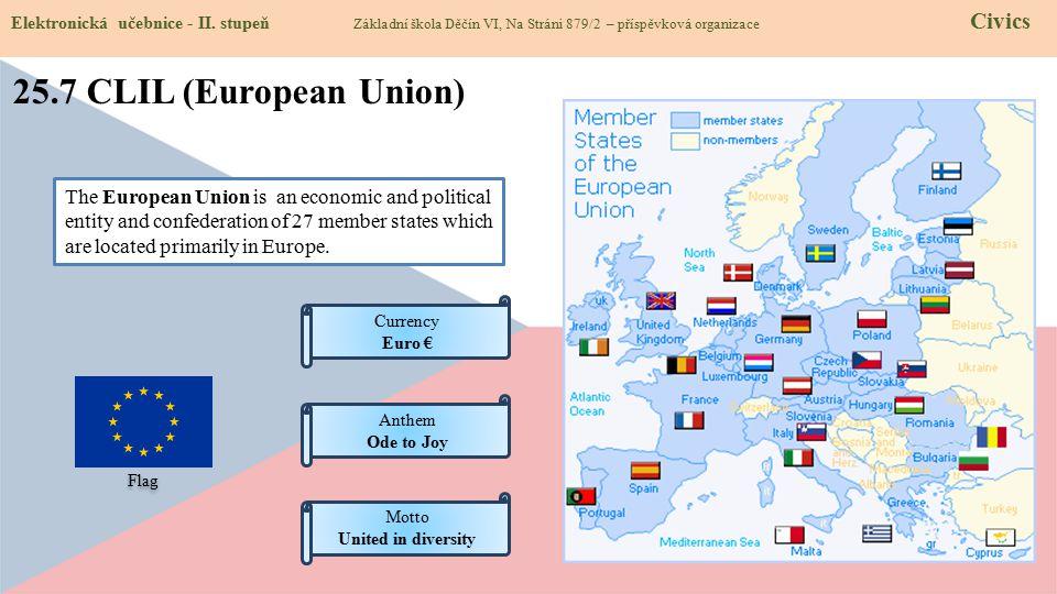 25.7 CLIL (European Union) Elektronická učebnice - II. stupeň Základní škola Děčín VI, Na Stráni 879/2 – příspěvková organizace Civics The European Un