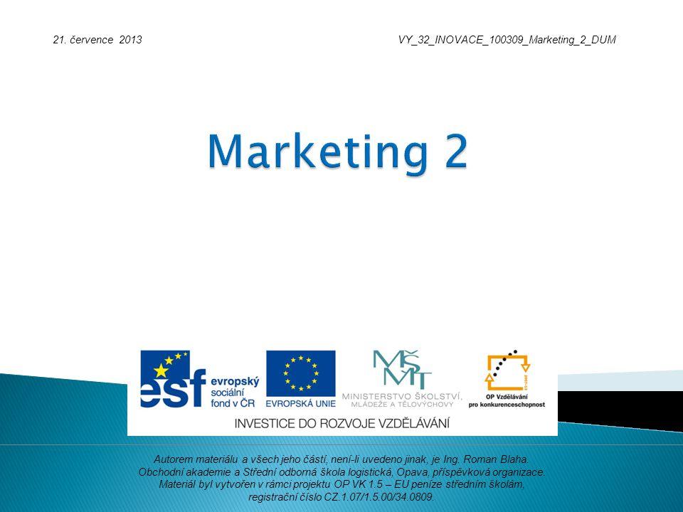 21. července 2013VY_32_INOVACE_100309_Marketing_2_DUM Autorem materiálu a všech jeho částí, není-li uvedeno jinak, je Ing. Roman Blaha. Obchodní akade