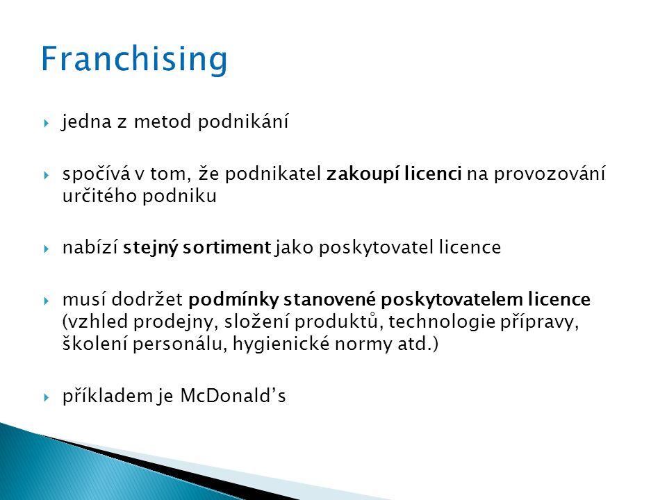  jedna z metod podnikání  spočívá v tom, že podnikatel zakoupí licenci na provozování určitého podniku  nabízí stejný sortiment jako poskytovatel licence  musí dodržet podmínky stanovené poskytovatelem licence (vzhled prodejny, složení produktů, technologie přípravy, školení personálu, hygienické normy atd.)  příkladem je McDonald's