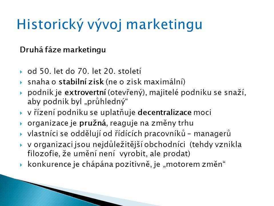 Druhá fáze marketingu  od 50. let do 70. let 20. století  snaha o stabilní zisk (ne o zisk maximální)  podnik je extrovertní (otevřený), majitelé p