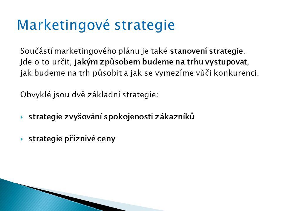 Součástí marketingového plánu je také stanovení strategie. Jde o to určit, jakým způsobem budeme na trhu vystupovat, jak budeme na trh působit a jak s