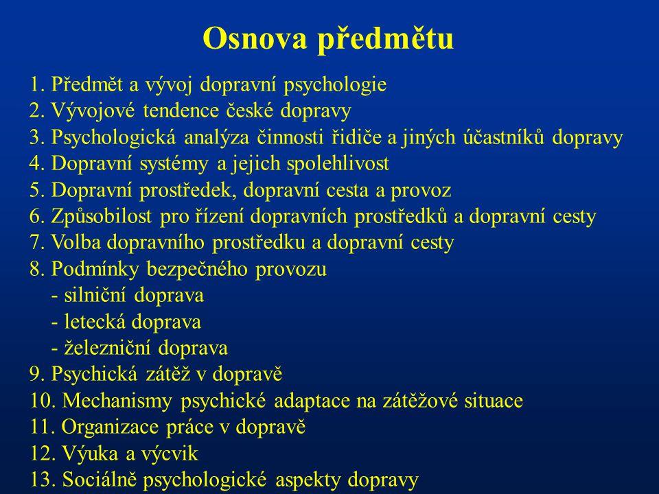 Osnova předmětu 1. Předmět a vývoj dopravní psychologie 2.