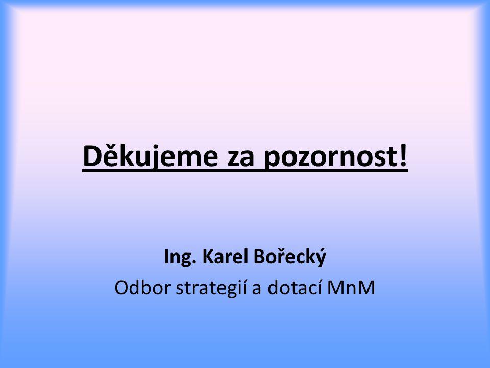 Děkujeme za pozornost! Ing. Karel Bořecký Odbor strategií a dotací MnM