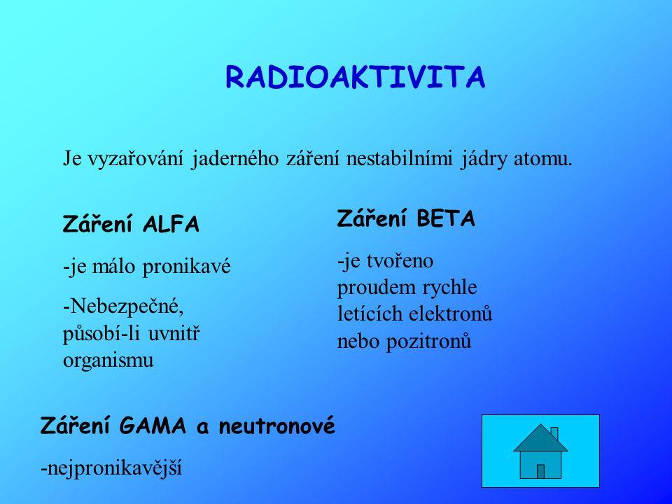 RADIOAKTIVITA Je vyzařování jaderného záření nestabilními jádry atomu. Záření ALFA -je málo pronikavé -Nebezpečné, působí-li uvnitř organismu Záření B