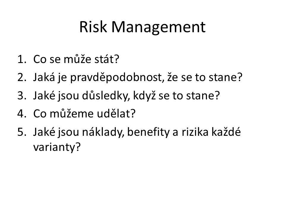 Risk Management 1.Co se může stát? 2.Jaká je pravděpodobnost, že se to stane? 3.Jaké jsou důsledky, když se to stane? 4.Co můžeme udělat? 5.Jaké jsou