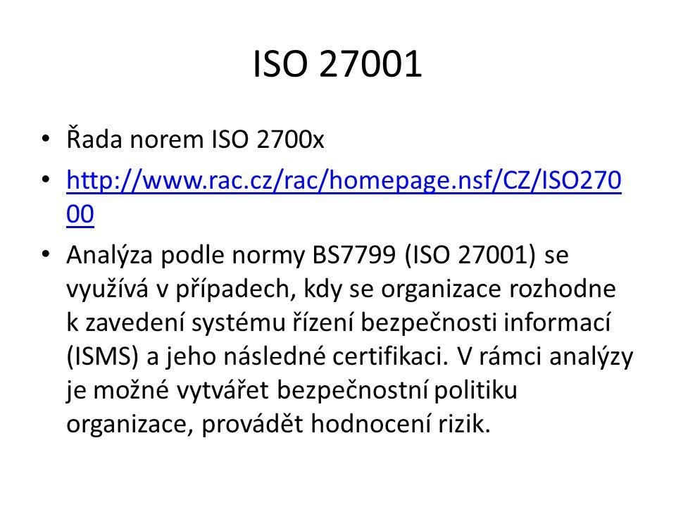 ISO 27001 Řada norem ISO 2700x http://www.rac.cz/rac/homepage.nsf/CZ/ISO270 00 http://www.rac.cz/rac/homepage.nsf/CZ/ISO270 00 Analýza podle normy BS7799 (ISO 27001) se využívá v případech, kdy se organizace rozhodne k zavedení systému řízení bezpečnosti informací (ISMS) a jeho následné certifikaci.