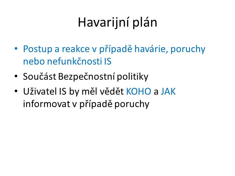 Havarijní plán Postup a reakce v případě havárie, poruchy nebo nefunkčnosti IS Součást Bezpečnostní politiky Uživatel IS by měl vědět KOHO a JAK informovat v případě poruchy