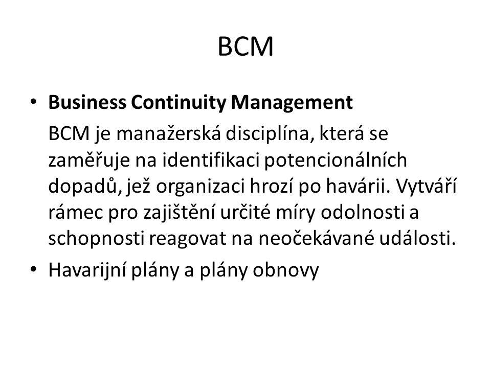 BCM Business Continuity Management BCM je manažerská disciplína, která se zaměřuje na identifikaci potencionálních dopadů, jež organizaci hrozí po havárii.