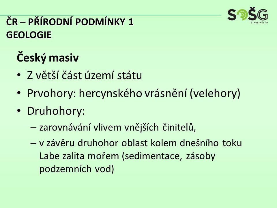 Třetihory: – J a V od Českého masivu probíhalo ……………………..