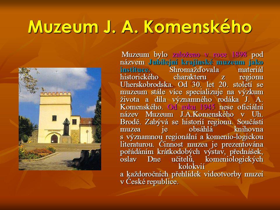 Muzeum J. A. Komenského Muzeum bylo založeno v roce 1898 pod názvem Jubilejní krajinské muzeum jako instituce. Shromažďovala materiál historického cha