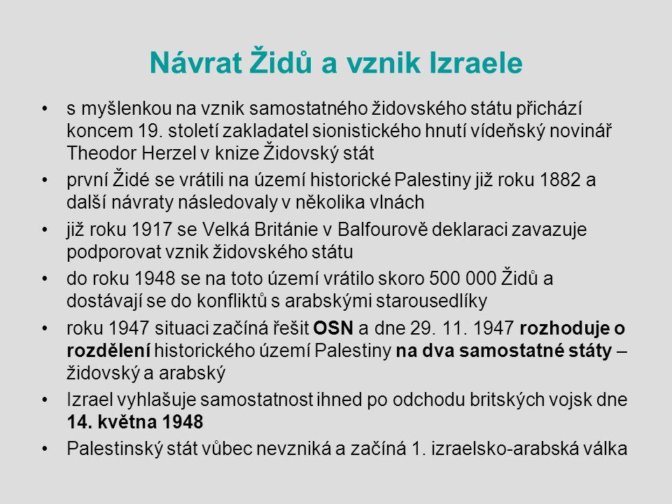 Návrat Židů a vznik Izraele s myšlenkou na vznik samostatného židovského státu přichází koncem 19.