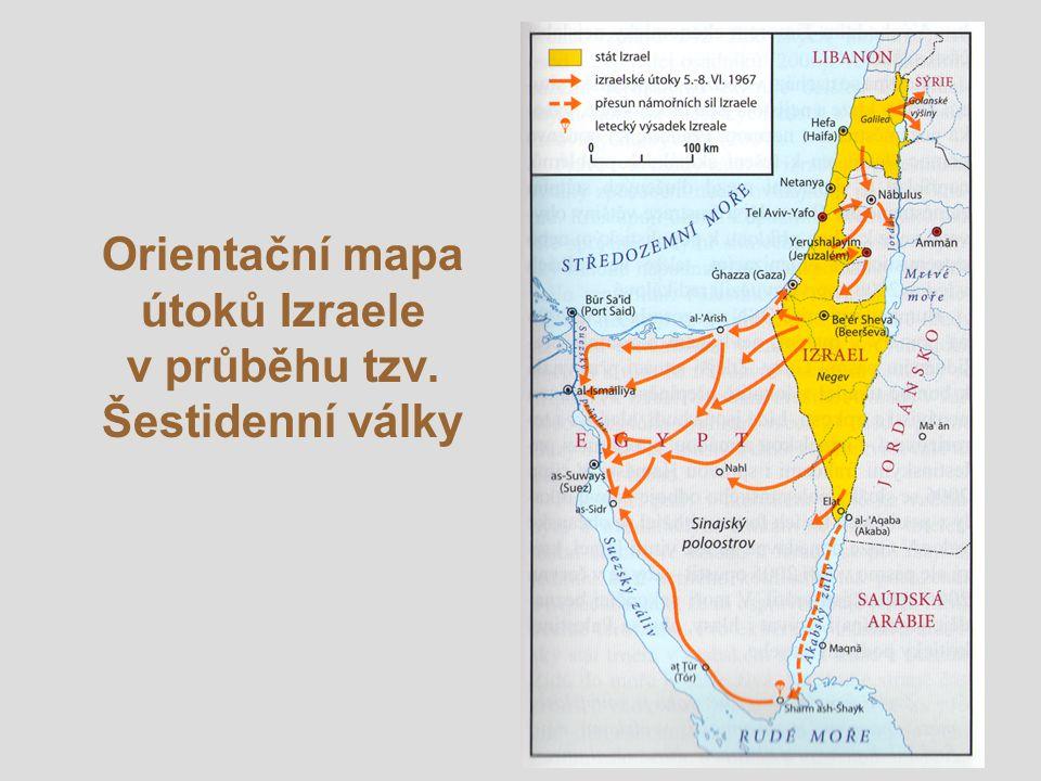 Orientační mapa útoků Izraele v průběhu tzv. Šestidenní války