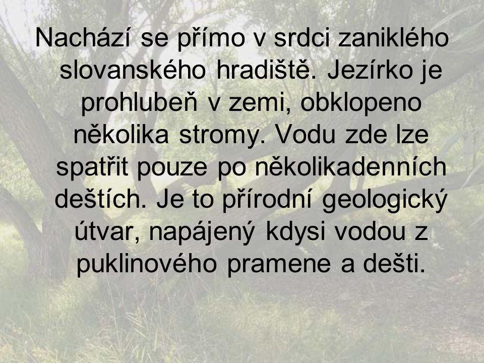 Nachází se přímo v srdci zaniklého slovanského hradiště. Jezírko je prohlubeň v zemi, obklopeno několika stromy. Vodu zde lze spatřit pouze po několik
