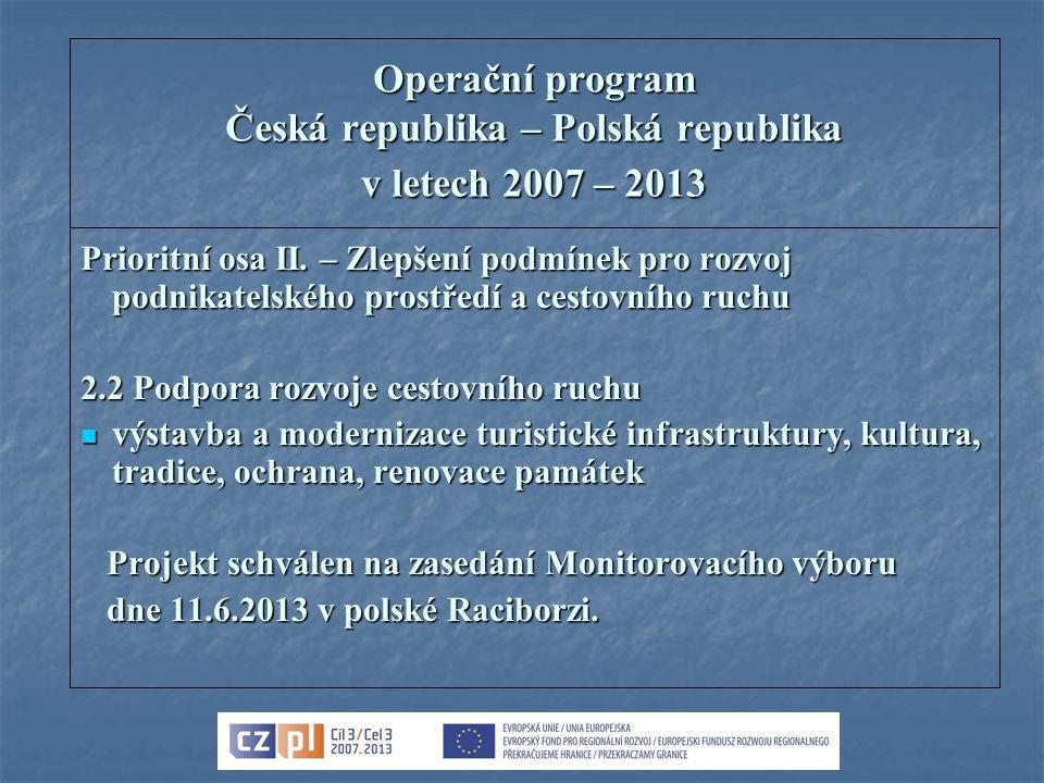 Operační program Česká republika – Polská republika v letech 2007 – 2013 Prioritní osa II. – Zlepšení podmínek pro rozvoj podnikatelského prostředí a
