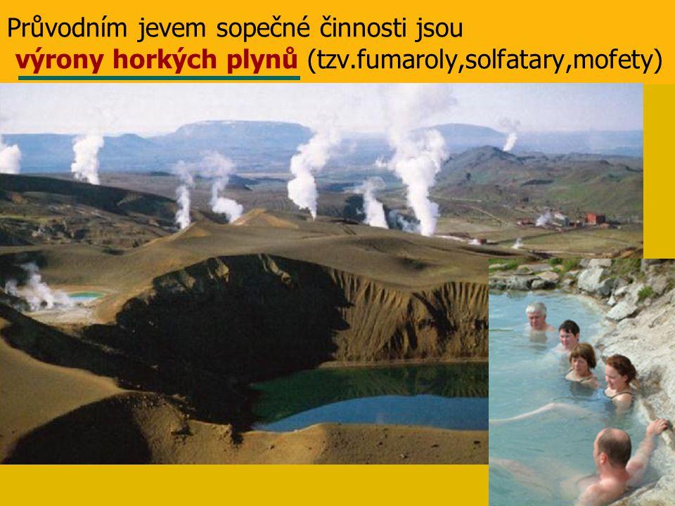 Průvodním jevem sopečné činnosti jsou výrony horkých plynů (tzv.fumaroly,solfatary,mofety)
