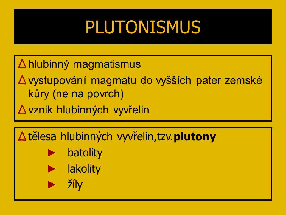 PLUTONISMUS ∆ hlubinný magmatismus ∆ vystupování magmatu do vyšších pater zemské kůry (ne na povrch) ∆ vznik hlubinných vyvřelin ∆ tělesa hlubinných v