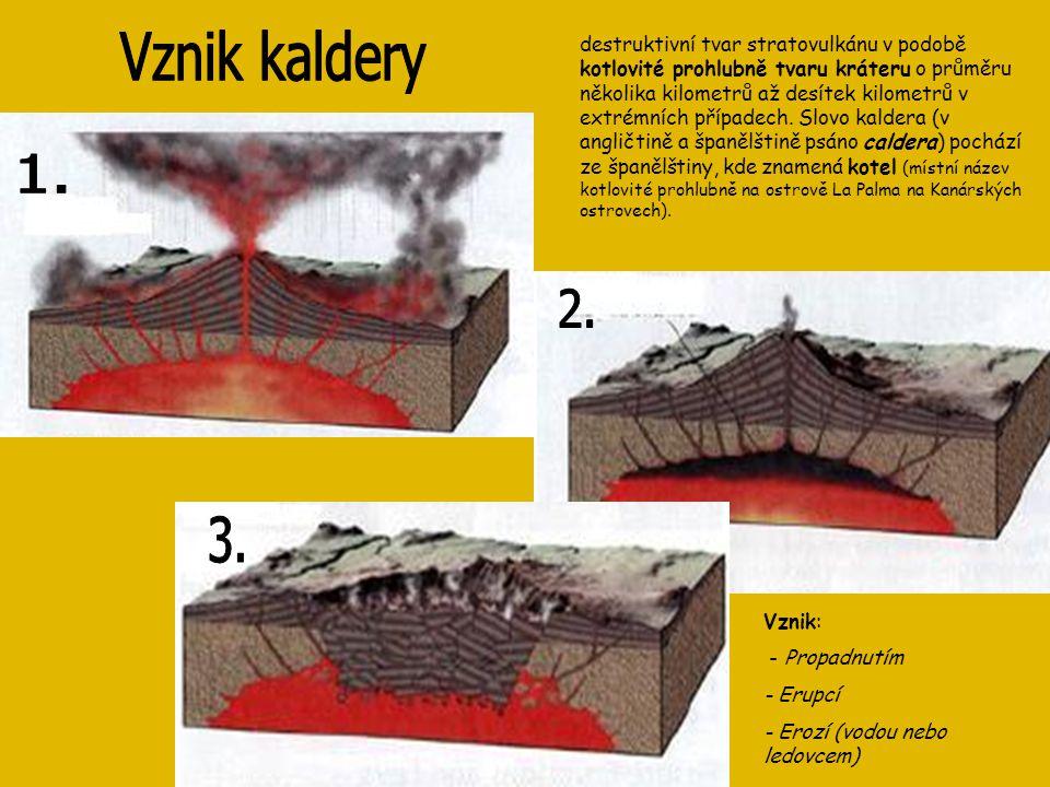 destruktivní tvar stratovulkánu v podobě kotlovité prohlubně tvaru kráteru o průměru několika kilometrů až desítek kilometrů v extrémních případech. S