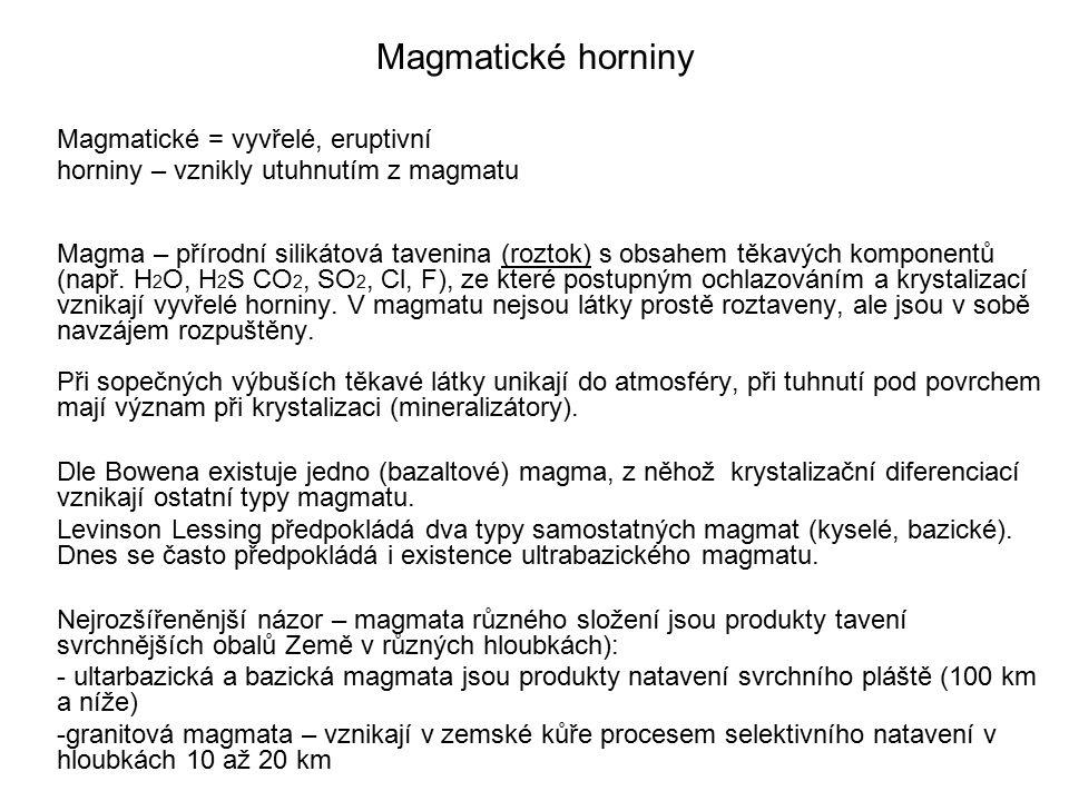 Magmatické horniny Magmatické = vyvřelé, eruptivní horniny – vznikly utuhnutím z magmatu Magma – přírodní silikátová tavenina (roztok) s obsahem těkav