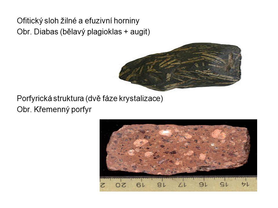 Ofitický sloh žilné a efuzivní horniny Obr. Diabas (bělavý plagioklas + augit) Porfyrická struktura (dvě fáze krystalizace) Obr. Křemenný porfyr