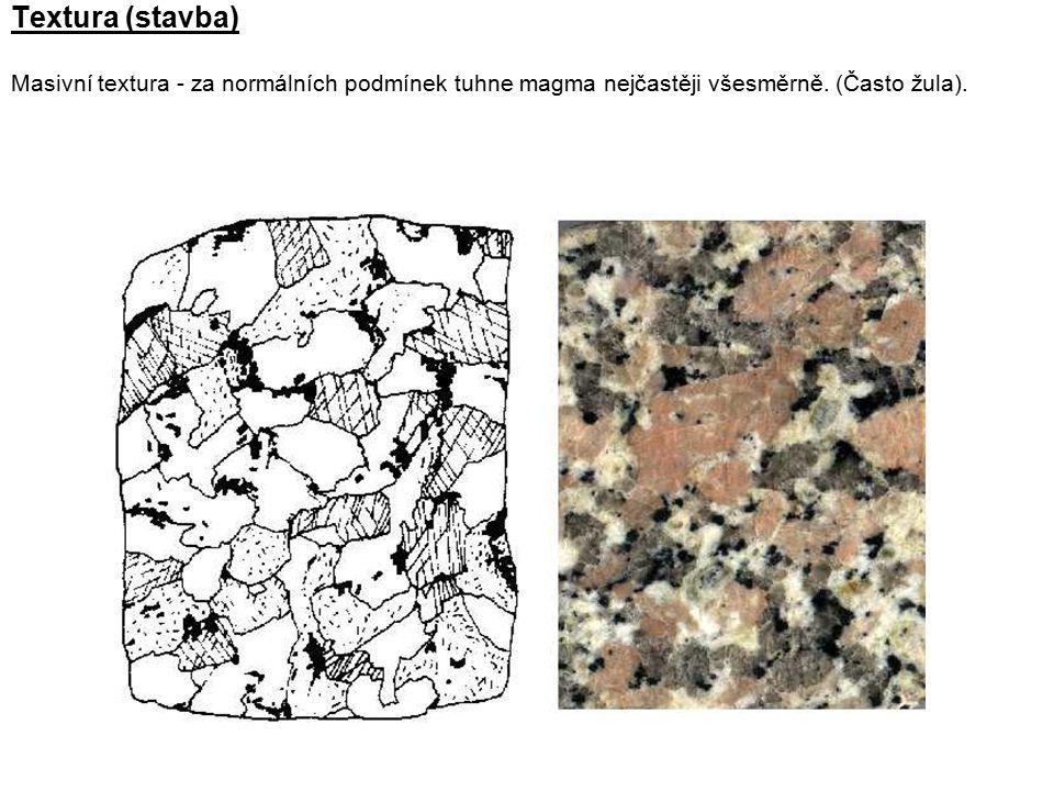 Textura (stavba) Masivní textura - za normálních podmínek tuhne magma nejčastěji všesměrně. (Často žula).