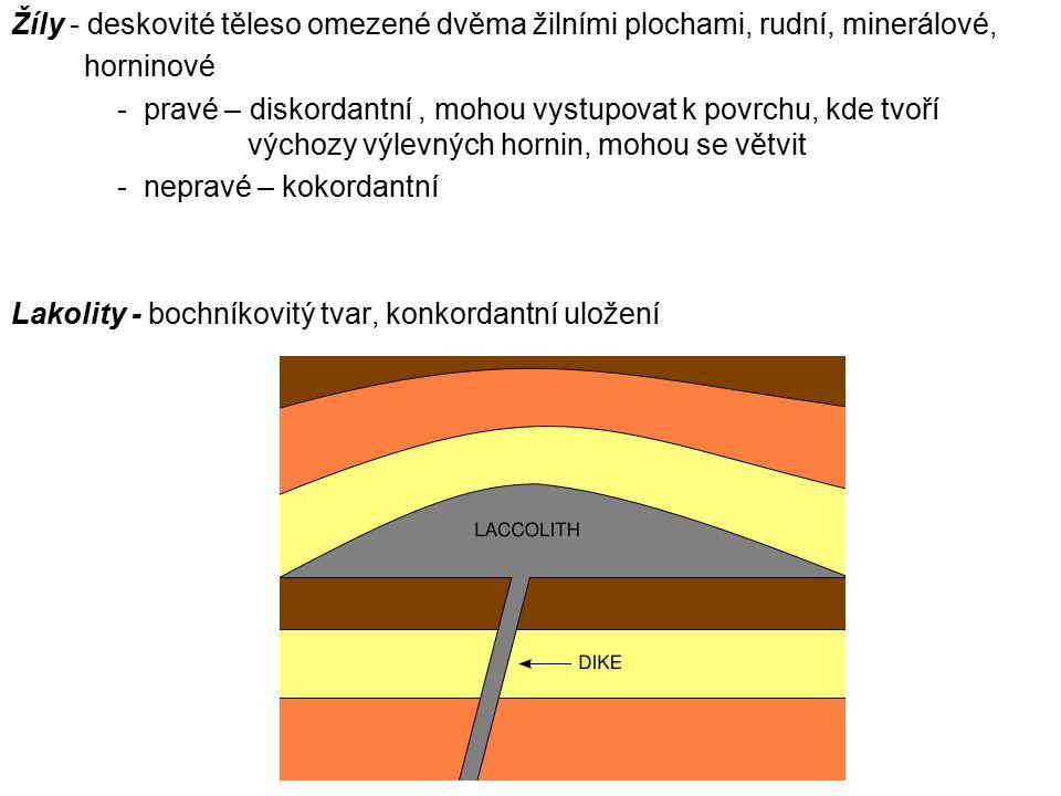 Žíly - deskovité těleso omezené dvěma žilními plochami, rudní, minerálové, horninové - pravé – diskordantní, mohou vystupovat k povrchu, kde tvoří výc