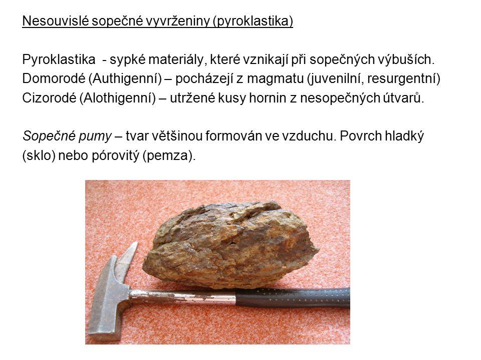 Nesouvislé sopečné vyvrženiny (pyroklastika) Pyroklastika - sypké materiály, které vznikají při sopečných výbuších. Domorodé (Authigenní) – pocházejí