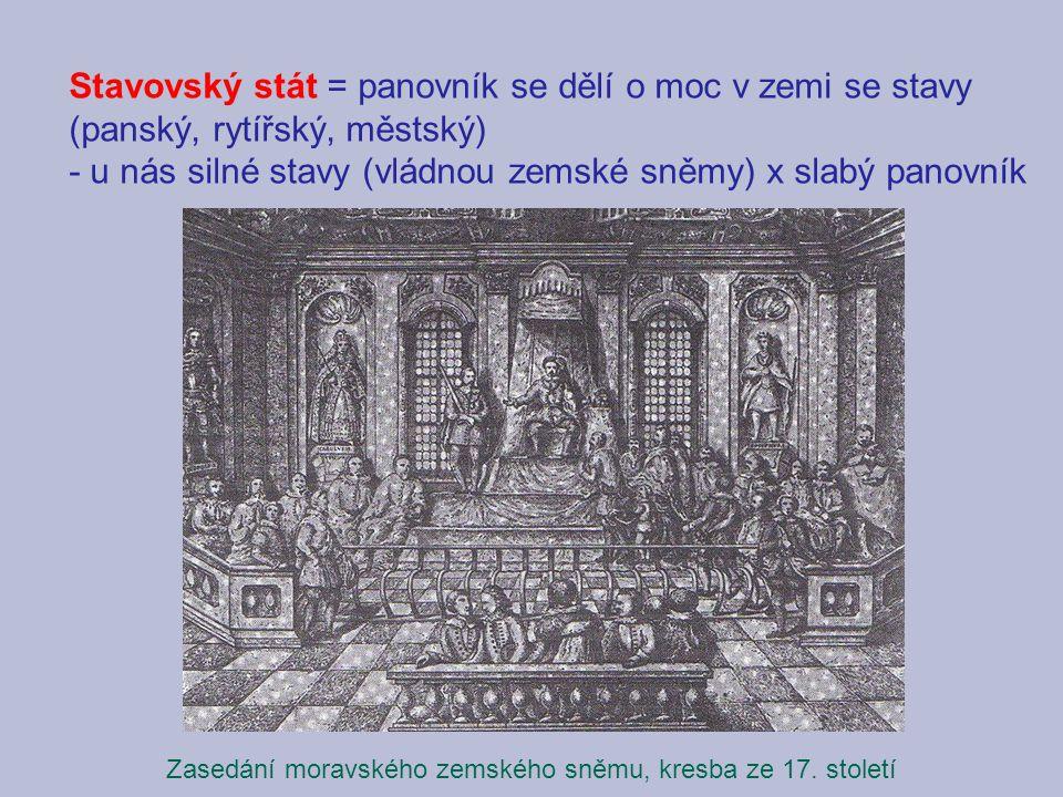 Stavovský stát = panovník se dělí o moc v zemi se stavy (panský, rytířský, městský) - u nás silné stavy (vládnou zemské sněmy) x slabý panovník Zasedání moravského zemského sněmu, kresba ze 17.