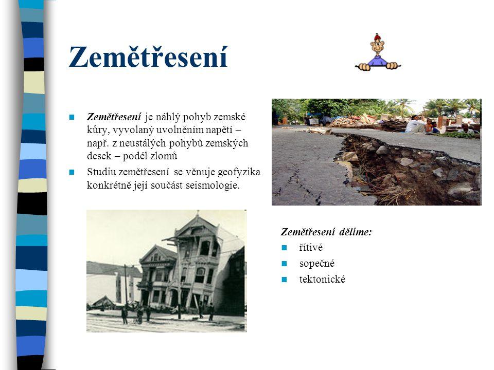 Zemětřesení Zemětřesení je náhlý pohyb zemské kůry, vyvolaný uvolněním napětí – např. z neustálých pohybů zemských desek – podél zlomů Studiu zemětřes