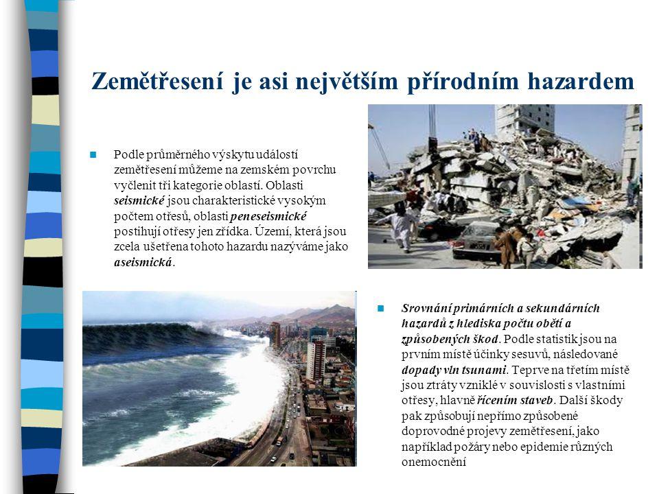 Zemětřesení je asi největším přírodním hazardem Podle průměrného výskytu událostí zemětřesení můžeme na zemském povrchu vyčlenit tři kategorie oblastí