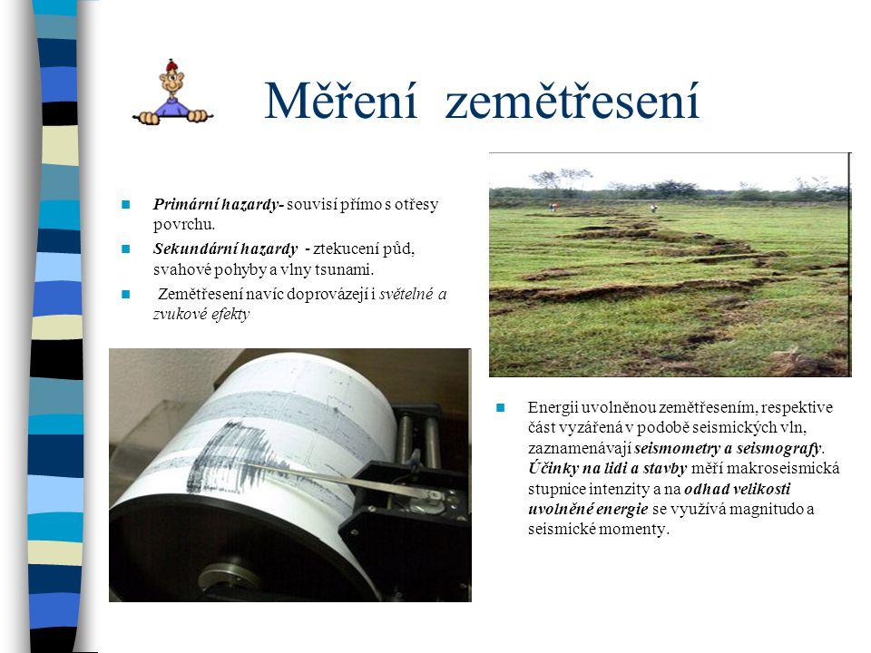 Energie zemětřesení a jeho velikost Makroseismické účinky zemětřesení jsou účinky zemětřesení, které se projevují v přírodě, na budovách a lidech v určité lokalitě.