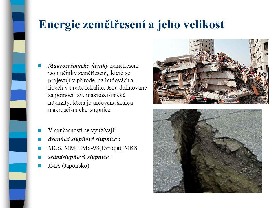 Energie zemětřesení a jeho velikost Makroseismické účinky zemětřesení jsou účinky zemětřesení, které se projevují v přírodě, na budovách a lidech v ur