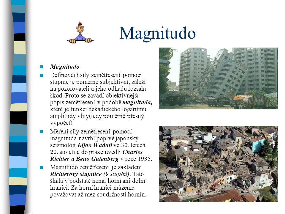Magnitudo Definování síly zemětřesení pomocí stupnic je poměrně subjektivní, záleží na pozorovateli a jeho odhadu rozsahu škod. Proto se zavádí objekt