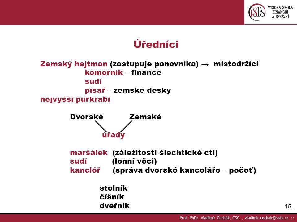 15. Prof. PhDr. Vladimír Čechák, CSC., vladimir.cechak@vsfs.cz :: Úředníci Zemský hejtman (zastupuje panovníka)  místodržící komorník – finance sudí