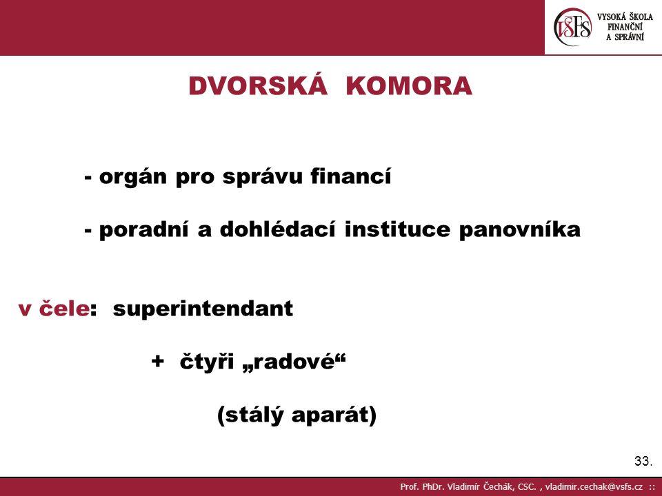33. Prof. PhDr. Vladimír Čechák, CSC., vladimir.cechak@vsfs.cz :: DVORSKÁ KOMORA - orgán pro správu financí - poradní a dohlédací instituce panovníka