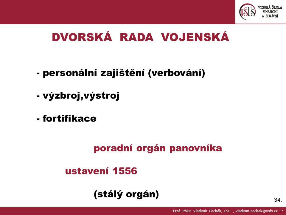 34. Prof. PhDr. Vladimír Čechák, CSC., vladimir.cechak@vsfs.cz :: DVORSKÁ RADA VOJENSKÁ - personální zajištění (verbování) - výzbroj,výstroj - fortifi