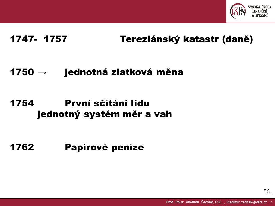 53. Prof. PhDr. Vladimír Čechák, CSC., vladimir.cechak@vsfs.cz :: 1747- 1757Tereziánský katastr (daně) 1750 → jednotná zlatková měna 1754První sčítání