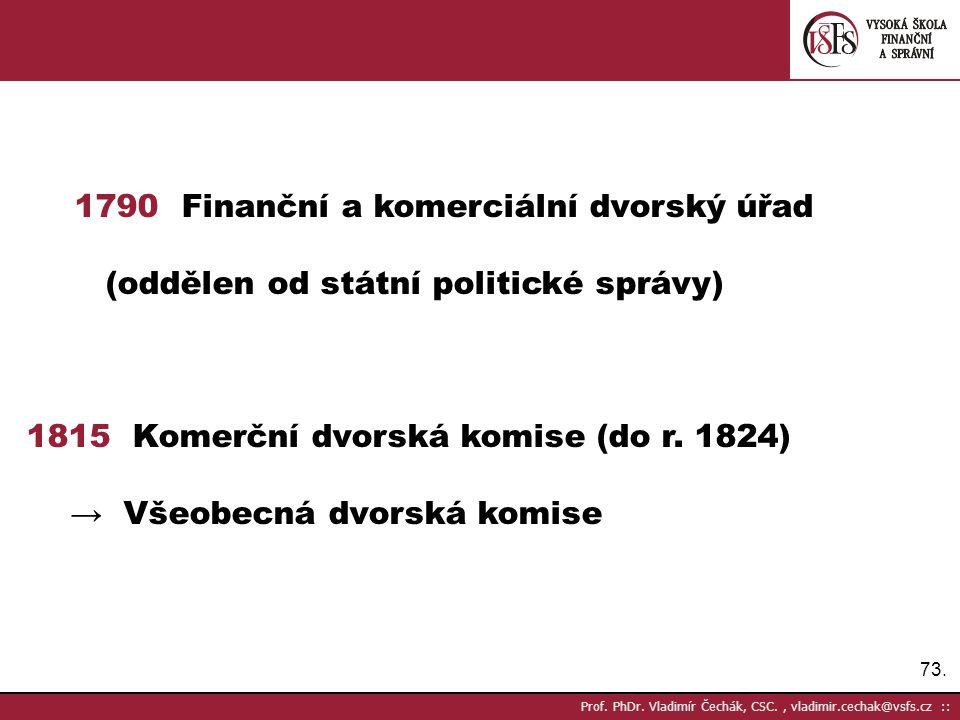 73. Prof. PhDr. Vladimír Čechák, CSC., vladimir.cechak@vsfs.cz :: 1790 Finanční a komerciální dvorský úřad (oddělen od státní politické správy) 1815 K