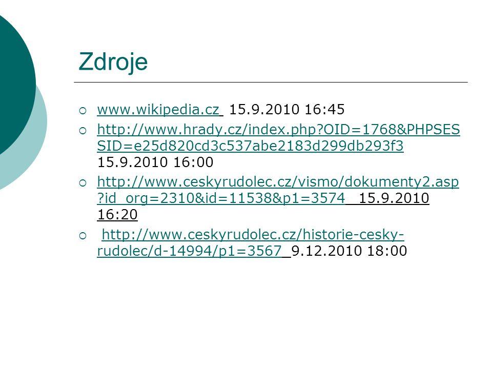 Zdroje  www.wikipedia.cz 15.9.2010 16:45 www.wikipedia.cz  http://www.hrady.cz/index.php OID=1768&PHPSES SID=e25d820cd3c537abe2183d299db293f3 15.9.2010 16:00 http://www.hrady.cz/index.php OID=1768&PHPSES SID=e25d820cd3c537abe2183d299db293f3  http://www.ceskyrudolec.cz/vismo/dokumenty2.asp id_org=2310&id=11538&p1=3574 15.9.2010 16:20 http://www.ceskyrudolec.cz/vismo/dokumenty2.asp id_org=2310&id=11538&p1=3574  http://www.ceskyrudolec.cz/historie-cesky- rudolec/d-14994/p1=3567 9.12.2010 18:00http://www.ceskyrudolec.cz/historie-cesky- rudolec/d-14994/p1=3567