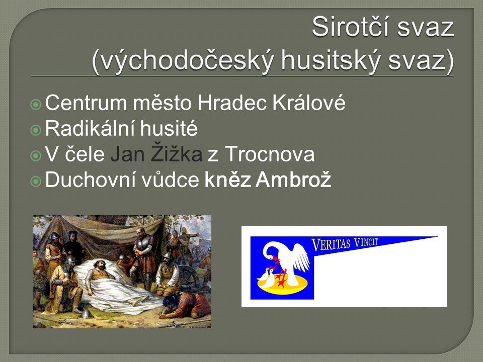  Centrum město Hradec Králové  Radikální husité  V čele Jan Žižka z Trocnova  Duchovní vůdce kněz Ambrož