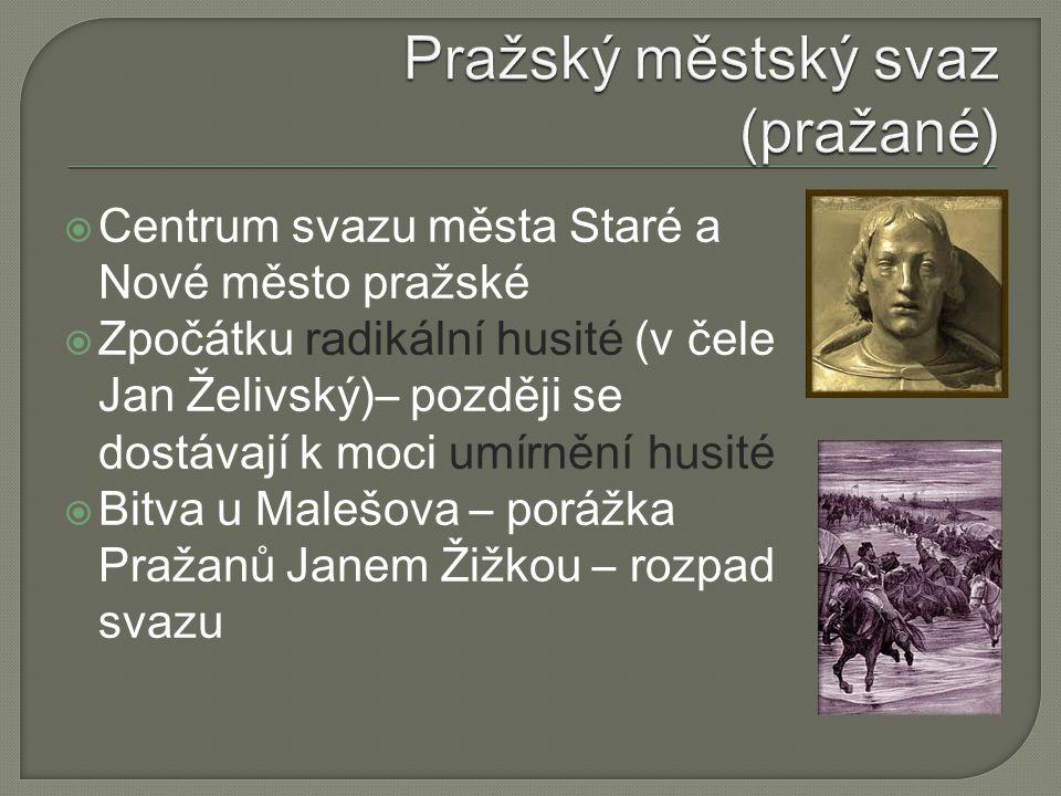  Centrum svazu města Staré a Nové město pražské  Zpočátku radikální husité (v čele Jan Želivský)– později se dostávají k moci umírnění husité  Bitv