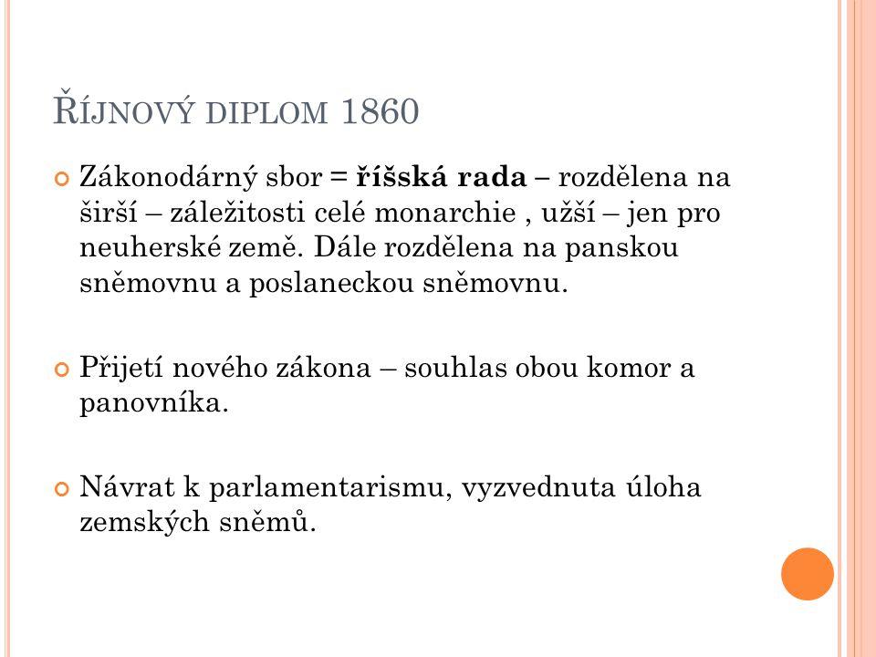 Ř ÍJNOVÝ DIPLOM 1860 Českými politiky uvítán – umožňoval obnovení práv zemí Koruny české.