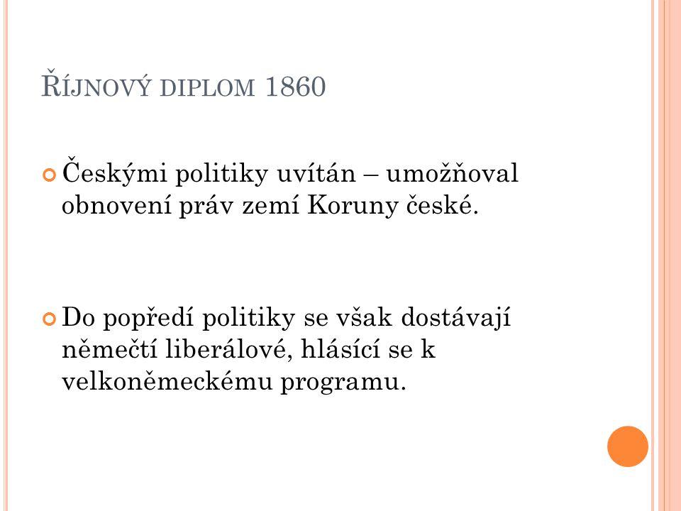 Ú NOROVÁ ÚSTAVA Vydána roku 1861.