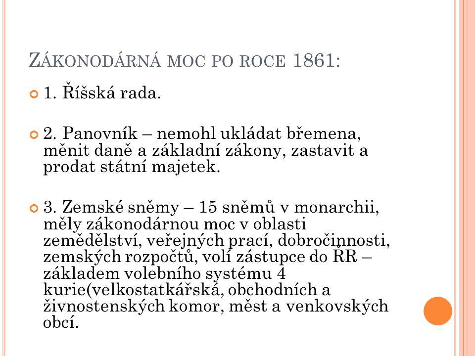 Z ÁKONODÁRNÁ MOC PO ROCE 1861: 1. Říšská rada. 2.