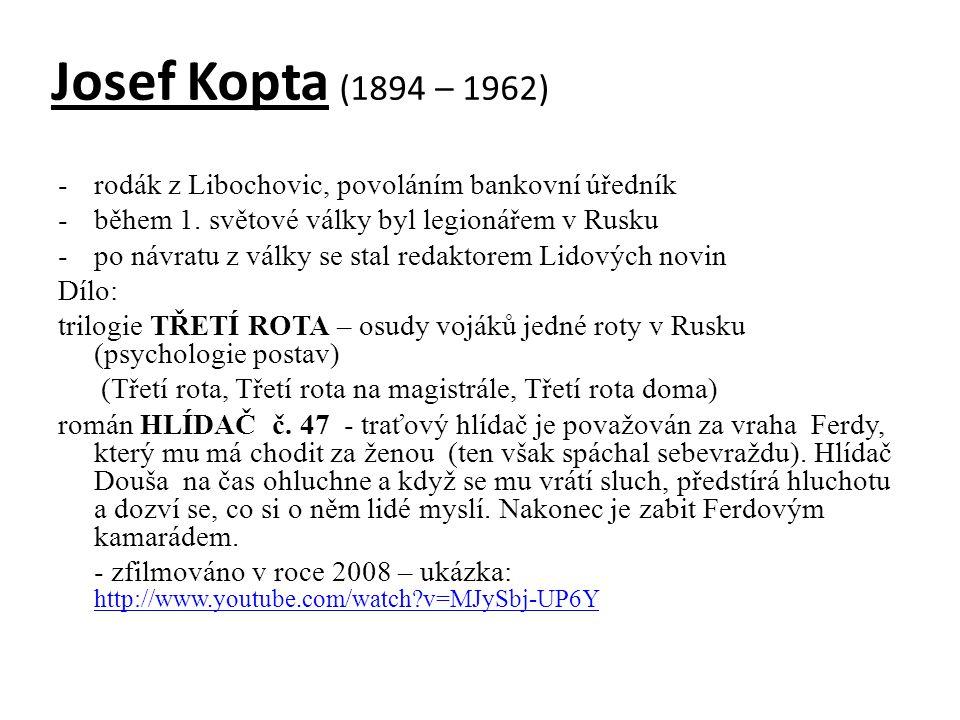 Josef Kopta (1894 – 1962) -rodák z Libochovic, povoláním bankovní úředník -během 1. světové války byl legionářem v Rusku -po návratu z války se stal r
