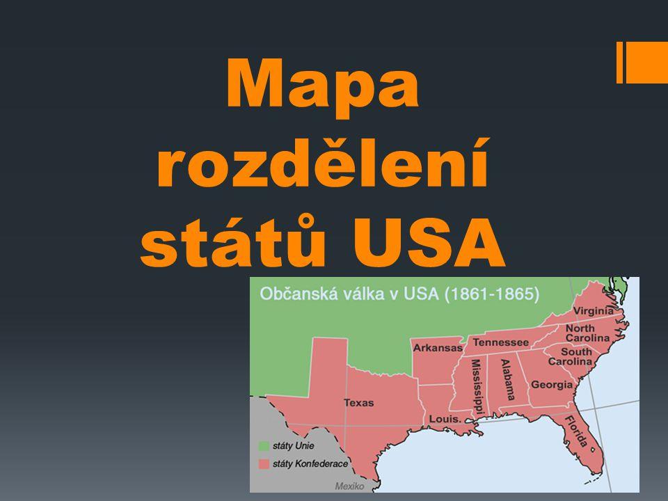 Mapa rozdělení států USA