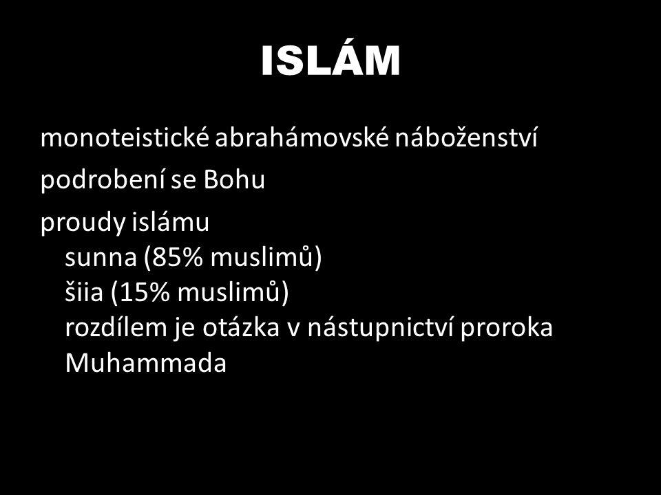 ISLÁM monoteistické abrahámovské náboženství podrobení se Bohu proudy islámu sunna (85% muslimů) šiia (15% muslimů) rozdílem je otázka v nástupnictví