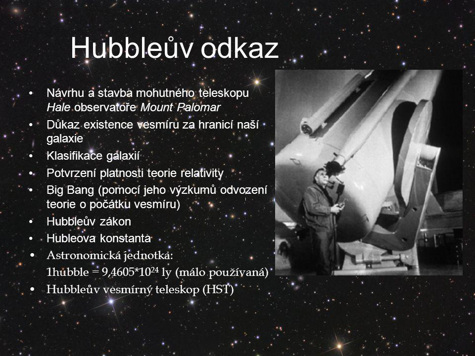 Hubbleův odkaz Návrhu a stavba mohutného teleskopu Hale observatoře Mount Palomar Důkaz existence vesmíru za hranicí naší galaxie Klasifikace galaxií Potvrzení platnosti teorie relativity Big Bang (pomocí jeho výzkumů odvození teorie o počátku vesmíru) Hubbleův zákon Hubleova konstanta Astronomická jednotka: 1hubble = 9,4605*10 24 ly (málo používaná) Hubbleův vesmírný teleskop (HST)