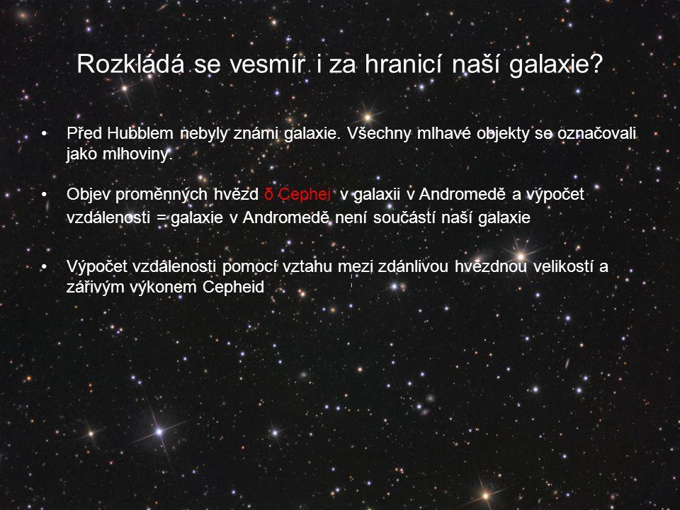 Rozkládá se vesmír i za hranicí naší galaxie.Před Hubblem nebyly známi galaxie.